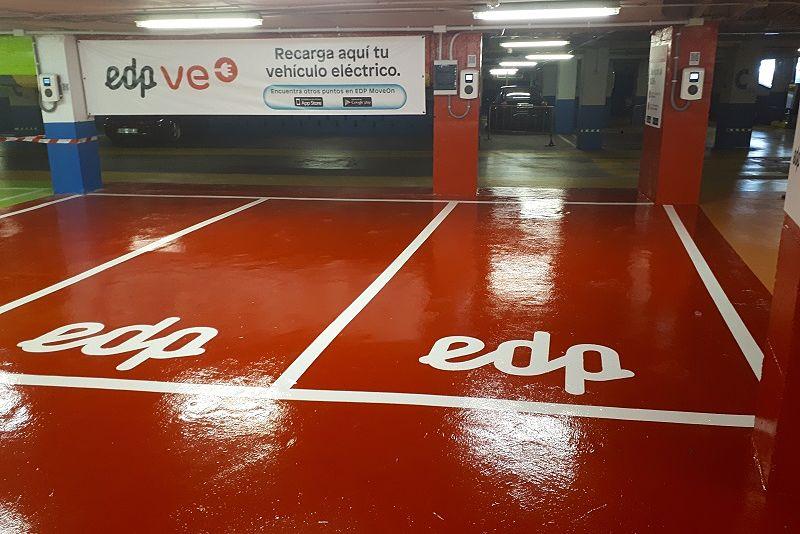 punto de recarga EDP para coche electrico en Salesas Oviedo Asturias